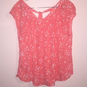 Coral & White Butterfly Lauren Conrad Blouse XL